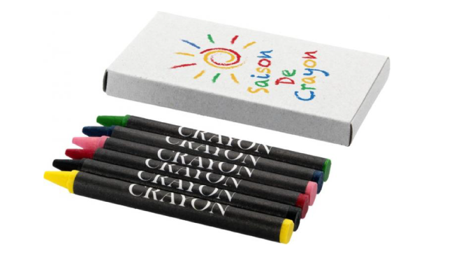 Thumbnail for 6-piece coloured crayon set